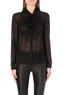 ROBERTO CAVALLI Croc-detailed sheer silk blouse