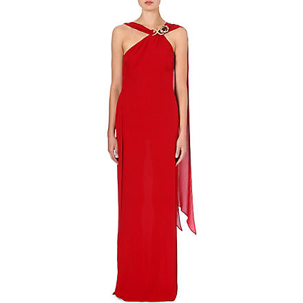 ROBERTO CAVALLI Shoulder-detail silk gown (Red