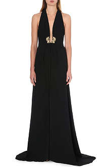 ROBERTO CAVALLI Brooch-detail stretch-crepe gown