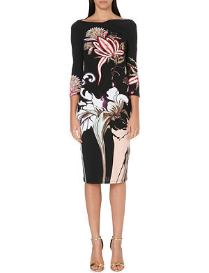 ROBERTO CAVALLI Floral-print stretch-jersey dress