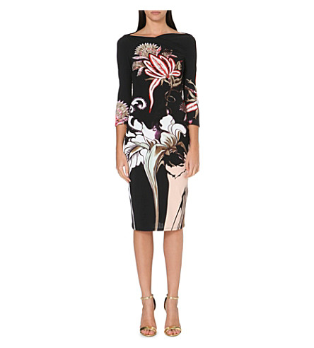 ROBERTO CAVALLI Floral-print stretch-jersey dress (Black