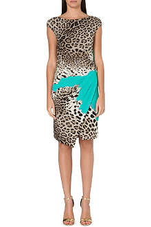 ROBERTO CAVALLI Leopard-print crepe dress