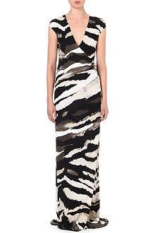 ROBERTO CAVALLI Zebra-print stretch-jersey gown
