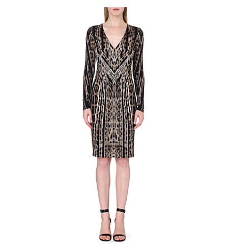 ROBERTO CAVALLI Leopard-print v-neck dress (Brown