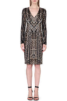 ROBERTO CAVALLI Leopard-print v-neck dress