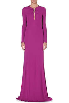 ROBERTO CAVALLI Long-sleeved crepe gown
