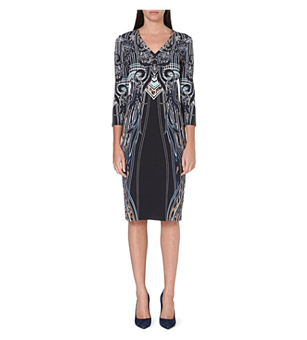 ROBERTO CAVALLI Printed v-neck dress (Blue