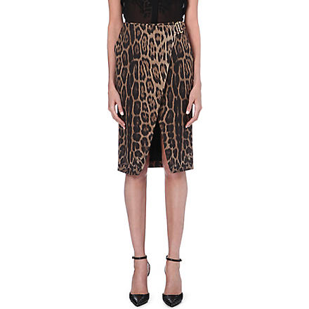 ROBERTO CAVALLI Leopard pencil skirt (Brown
