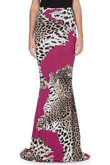 ROBERTO CAVALLI Leopard-print stretch-jersey maxi skirt