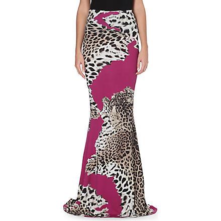 ROBERTO CAVALLI Leopard-print stretch-jersey maxi skirt (Fuschia
