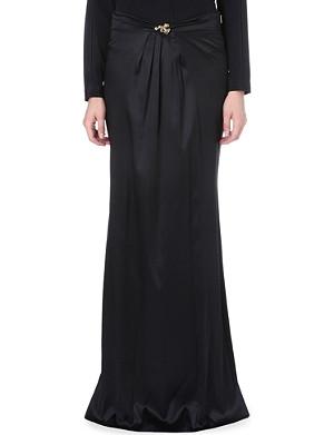 ROBERTO CAVALLI Brooch-detail stretch-silk skirt