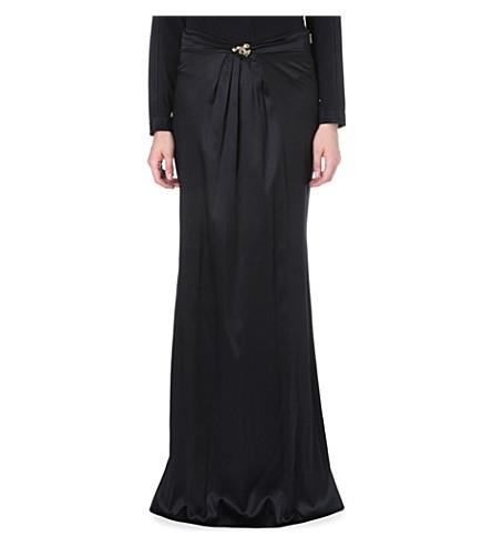 ROBERTO CAVALLI Brooch-detail stretch-silk skirt (Black