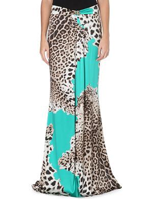 ROBERTO CAVALLI Leopard-print silk-satin maxi skirt