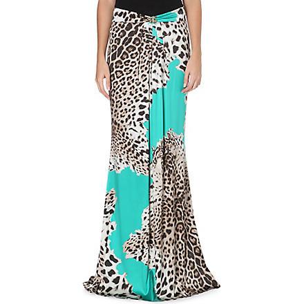 ROBERTO CAVALLI Leopard-print silk-satin maxi skirt (Emerald