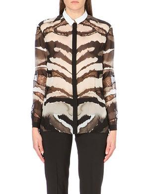 ROBERTO CAVALLI Lace-insert zebra-print silk shirt