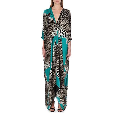 ROBERTO CAVALLI Leopard-print silk kaftan (Emerald