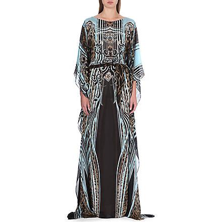 ROBERTO CAVALLI Printed silk kaftan (Brown