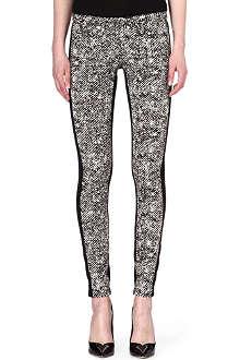 ROBERTO CAVALLI Tweed-print skinny mid-rise jeans