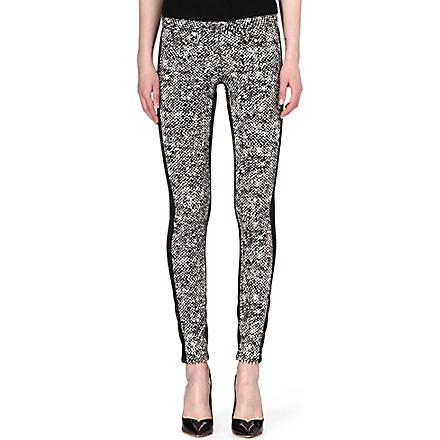 ROBERTO CAVALLI Tweed-print skinny mid-rise jeans (Blk