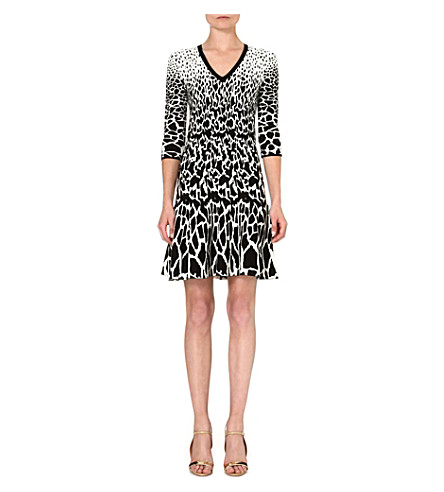 ROBERTO CAVALLI Jacquard animal print dress (Multi / black