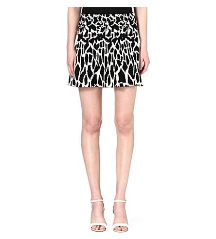 ROBERTO CAVALLI Animal-print jacquard-knit skirt (Multi+/+black