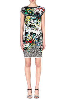 ROBERTO CAVALLI Floral jacquard-knit dress