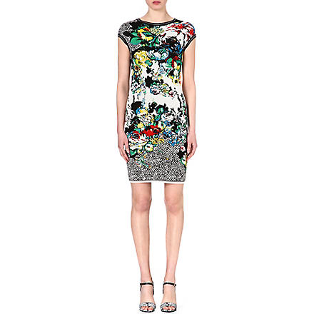 ROBERTO CAVALLI Floral jacquard-knit dress (Multi+/yellow