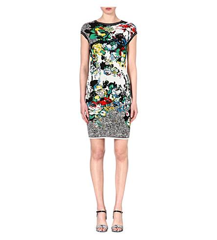 ROBERTO CAVALLI Floral jacquard-knit dress (Multi /yellow