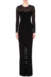 ROBERTO CAVALLI Leopard-print jacquard-knit gown