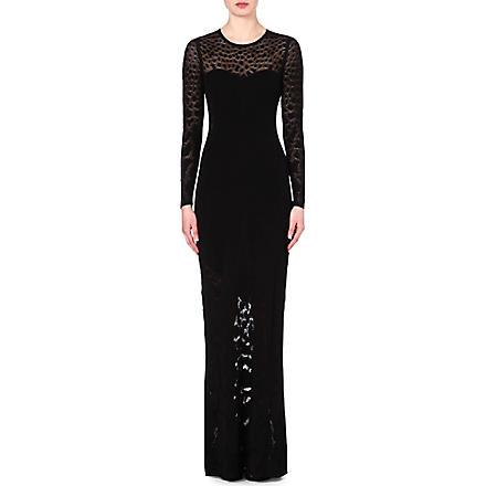 ROBERTO CAVALLI Leopard-print jacquard-knit gown (Black