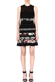 ROBERTO CAVALLI Floral-panel knitted dress