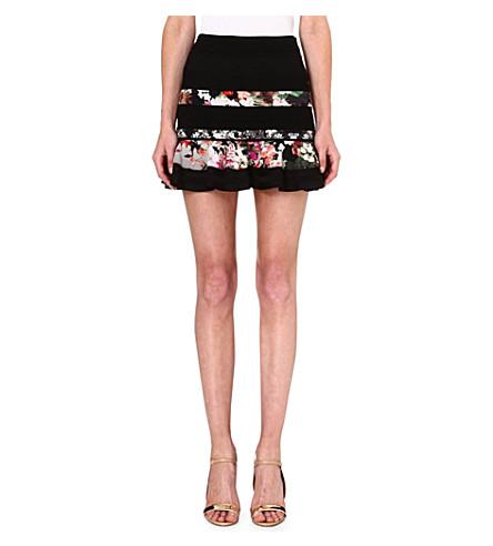 ROBERTO CAVALLI Floral panel mini skirt (Blk / multi