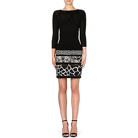 ROBERTO CAVALLI Animal-print knit dress (Black /multi