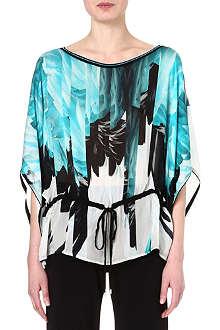 ROBERTO CAVALLI Feather-print silk kaftan top