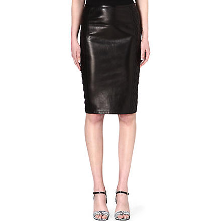 ROBERTO CAVALLI Leather pencil skirt (Black