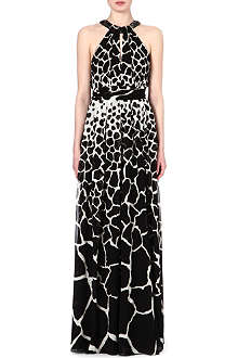 ROBERTO CAVALLI Animal-print halterneck silk gown