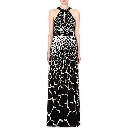 ROBERTO CAVALLI Animal-print halterneck silk gown (Black/wht