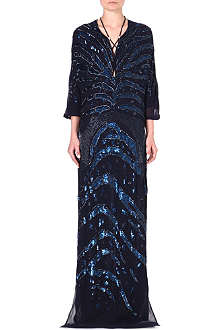 ROBERTO CAVALLI Embellished silk kaftan dress