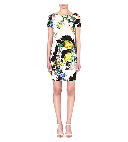 ROBERTO CAVALLI Floral-print jersey dress (Multi / yellow