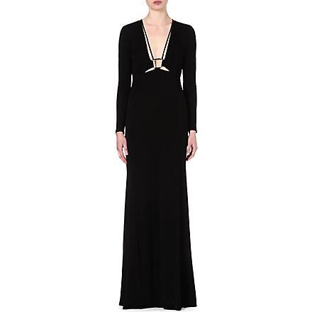 ROBERTO CAVALLI Long-sleeved jersey gown (Black