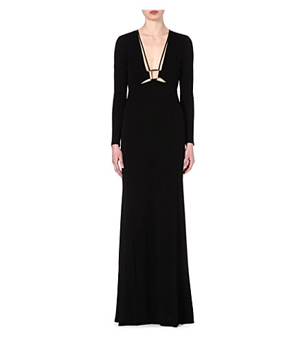ROBERTO CAVALLI Long-sleeved jersey gown (Black
