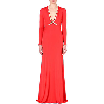 ROBERTO CAVALLI Long-sleeved jersey gown (Coral
