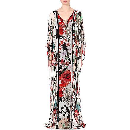 ROBERTO CAVALLI Floral-print silk kaftan (Multi / red