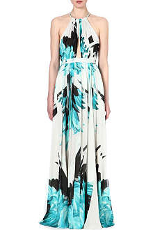 ROBERTO CAVALLI Feather-print silk halterneck gown