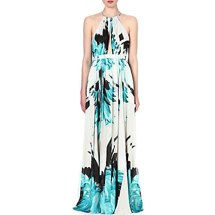 ROBERTO CAVALLI Feather-print silk halterneck gown (Turq