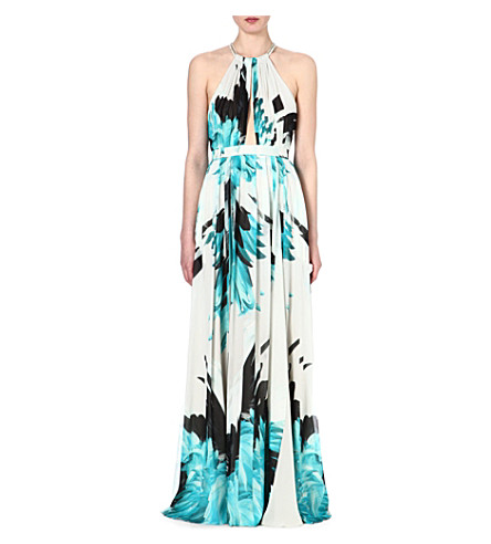 ROBERTO CAVALLI Feather-print silk halterneck gown (Turq
