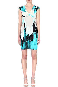 ROBERTO CAVALLI Feather-print v-neck dress
