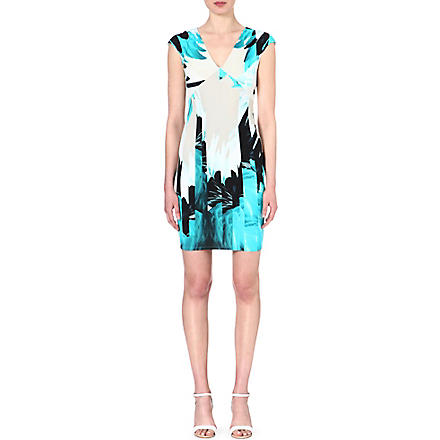 ROBERTO CAVALLI Feather-print v-neck dress (Turq