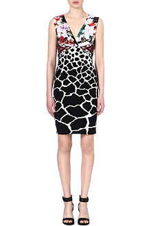 ROBERTO CAVALLI Floral and animal-print dress