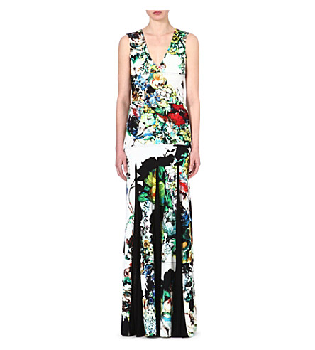 ROBERTO CAVALLI V-neck floral-print gown (Multi / yellow